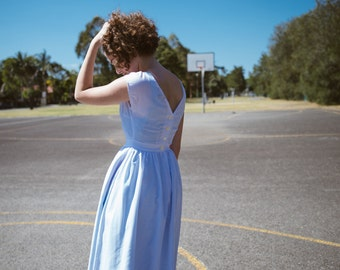 SALE - Cottonwood Tree Sheer Cotton Dress in Sea and Clouds