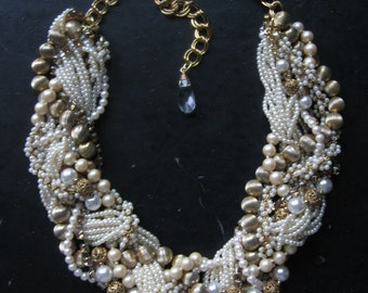 SALE - Bridal Statement Necklace - Woven Pearl and Gold Collar - Upcycled Vintage Pearl Statement Necklace