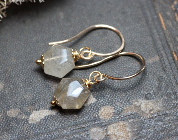 Rutilated quartz earrings gold earrings by thetwistedpretzel for Golden rutilated quartz jewelry