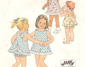 Simplicity 7407 1970s Toddlers Jiffy Top and Bloomers Pattern Criss Cross Girls Vintage Sewing Pattern Size 1/2 Breast 19 or 5052 Size 1