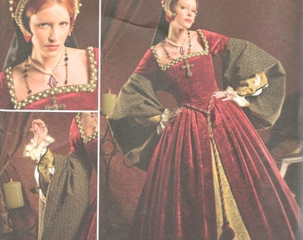 Simplicity 2589 Misses TUDOR Costume Pattern RenFaire Gown French Hood Womens Sewing Sizes 8 10 12 14 16 Bust 31- 38 Or 16 18 20 22 24 UNCUT