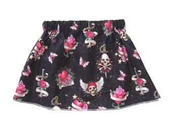 Skull And Crossbones - Punk Rock Baby - Toddler Skirt - Glitter - Butterfly - Tattoo Baby Clothes - Baby Skirt - Girls Skirt - On SALE 18m