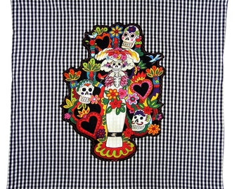 Sugar Skull  Pillow - Tree of Life - Mexican Folk Art - Home Decor - Rockabilly - Skull Pillow - Day of the Dead - Gingham - Pillow Covers