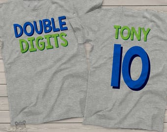 Tenth birthday double digits shirt - fun boys 10th birthday shirt - front and back personalized gift DDB10