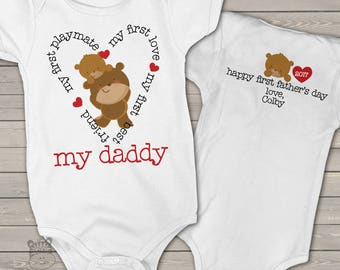 First Father's Day bodysuit or shirt -  my daddy my best friend shirt or bodysuit for baby - best first Father's Day gift from baby MDF1-095