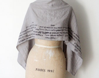 Linen Scarf e.e. cummings Gray poetry scarves, Valentine's Day , unique gifts for her, accessories,