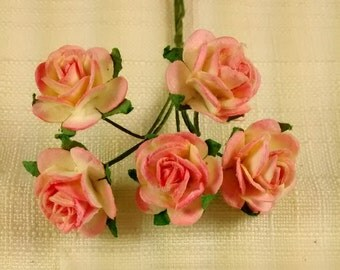 FF-101 Miniature Pink and Yellow Paper Roses