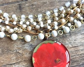 red botanical necklace flower jewelry bold color vintage image layered statement necklace botanical pendant vintage pearls holiday gift