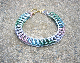 Princess Celesita Themed Chainmaille Bracelet - Lavender, Pink, Green, Sky Blue, and White - Share the magic of friendship!