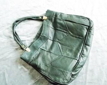 1970s grey genuine leather handbag/ 70s shoulder bag/ boho purse