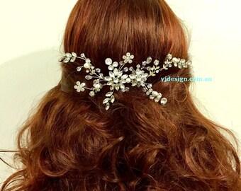 Vines Bridal Hair Jewelry, Flower Headpiece, Crystal Wedding Headpiece, Swarovski Pearl Bridal Hair Comb, Branches Wedding Hair Vine, AYU