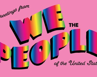 We The People Pink Vintage Style Postcard Set of 10