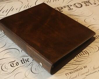 A5 Dark Brown Leather 6 Ring Binder, Filofax Compatible Organizer, Presentation Folder, Brown Leather, Ringbinder, Free Personalisation.
