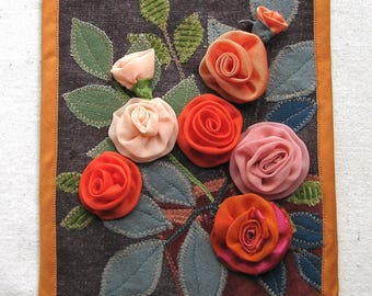Fabric rose wall hanging, one of a kind fiber wall art, shades of orange, 7.25 x 9 inch