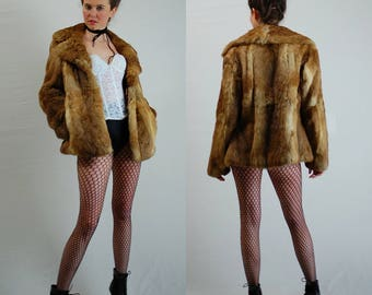 Rabbit Fur Jacket  / Vintage 70s Jacket / Brown Fur Jacket / Vintage Fur / Womens Coat / Boho Fur Coat / Vintage Fur / Medium Large