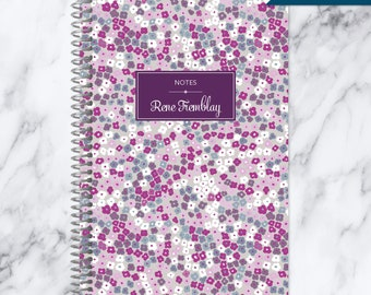 NOTEBOOK personalized journal | lined notebook | personalized gift | stocking stuffer | spiral bound notebook | purple blossoms pattern