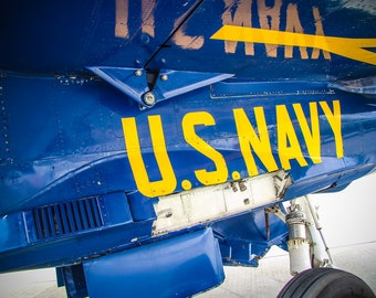 Blue Angels - F/A-18 Hornet Plane Under Wing U.S. Navy Lettering Fine Art Print