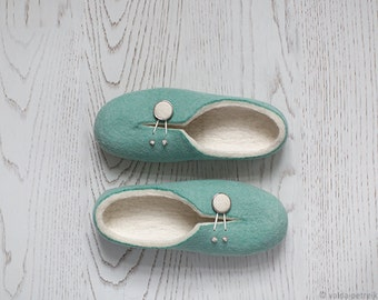 On sale Felted slippers for women US 10, EU 40.5-41 Teal mint ivory white clogs Last minute gift Express shipping included