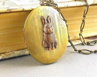 Large Rabbit Locket, Locket Necklace, Rabbit Locket, Locket, Rabbit Necklace,  Easter, Bunny Necklace,Vintage Brass Locket  Frank