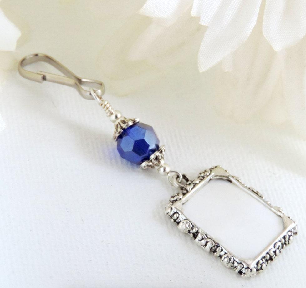 Blue Bridal Bouquet Charm : Wedding bouquet photo charm royal blue crystal something