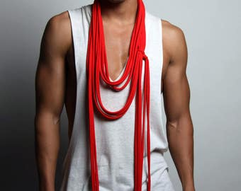 Long Red Scarf, Red Scarf, Burning Man, Red Necklace, Men's, Women's, Soft, Jersey Cotton