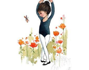 Instant Download - Ballerina Art - Home Decor - Ballet -  Original Watercolor Art -  Patricia Lee Christensen - Art Print  Card Making
