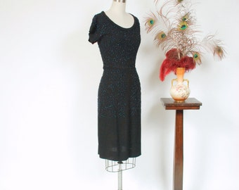Vintage 1940s Dress - Glittering Carnival Glass Fully Beaded Black Rayon Late 40s Bombshell Cocktail Dress