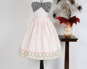 Vintage 1950s Skirt - Pink and White Striped 50s Cotton Full Skirt with Embroidered Flower Pot Border Accent
