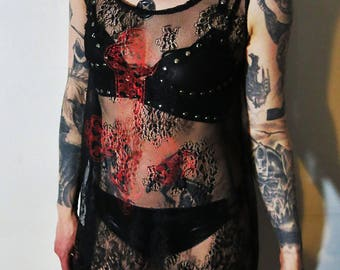 Hell Couture Kruzifixx Red Lace Mini Dress