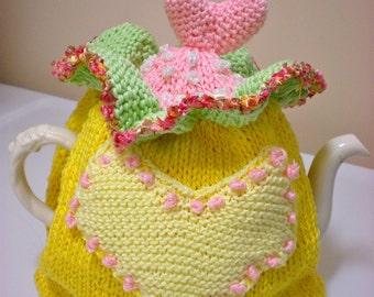 Tea Cosy/Tea Cozy/Mother's Day Gift/Hand Knit/Knit Tea Cosy/Knit/Mother's Day present/Tea Cosy/Knit Tea Cosy/Heart Tea Cosy/Hearts