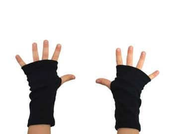 Kids Arm Warmers in Midnight Black - Fingerless Gloves