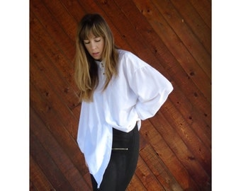 White High Neck Oversized Menswear Shirt - Vintage 90s - LARGE