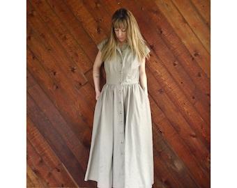 Khaki Gathered s/s Maxi Shirt Dress - Vintage 80s - MEDIUM