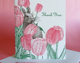 Tulip Spring Thank You and Blank Note Card