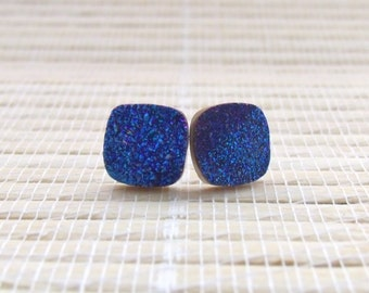 Peacock Blue Druzy Studs Sterling Silver 10mm