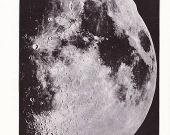 1920s Photograph - Moon - Vintage Antique Home Decor Book Plate Art for Framing 95 Years Old