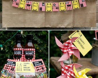 BBQ PRINTABLE Party Collection - mason jars, gingham, pinwheels - You Customize EDITABLE Text >> Instant Download | Paper and Cake
