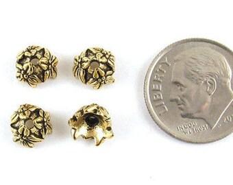 TierraCast Pewter Bead Caps-Antique Gold Jasmine 7mm (4)