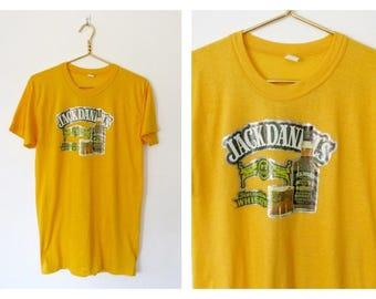 Vintage 1970s Jack Daniel's T-shirt / Tennessee Whiskey Iron-on Shirt / Yellow Unisex Tee