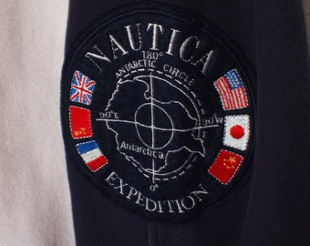 Vintage 90s NAUTICA Antarctica Expedition Pull Over Sweatshirt Red White and Blue USA