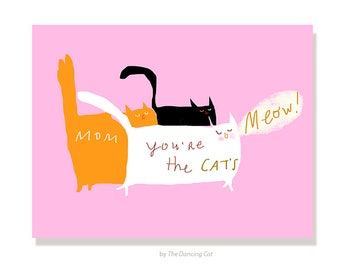 Happy Mother's Day Card - Cat's Meow - Cat Mom Card