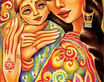 Mother child art, motherhood art, mothers love, goddess painting, Indian woman, nursery art, mother son, feminine decor print 8x12+