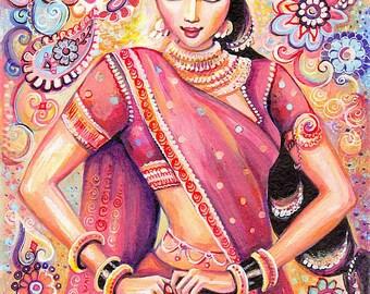 Devika Dance feminine beauty bollywood dance Indian decor beautiful Indian woman painting belly dance art gift, woman wall print 8x10.5+