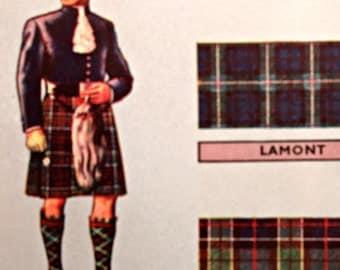 Vintage Clan Map, Johnston's Clan Map, Scottish Tartans, Vintage Scottish Map Scottish Highlands Map, Vintage Illustrated Map Scottish Clans