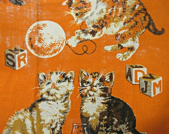 Vintage Tea Towel, Cat Towel, Linen Tea Towel, Vintage Kittens Towel, Retro Kitchen Towel, Linen Kitten Towel, Orange Dish Towel