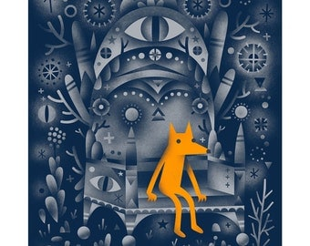 Golden Wolf - Archival Digital Print - 11x14 or 16x20