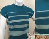 Vintage 1950s Blue Striped Pullover Sweater SZ S by Jantzen