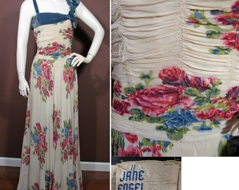 RESERVED 1940s Vintage Floral Chiffon Evening Gown by Jane Engel Size S
