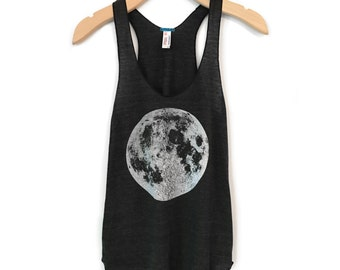 Moon tank top, Women's Moon t-shirt, boho chic clothing, Full Moon tank top, Women's luna lunar shirt, moon yoga clothes, hand screen print
