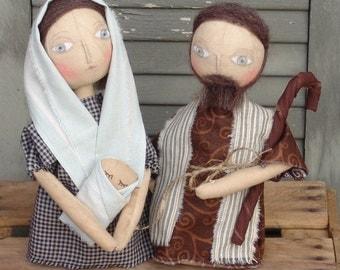 Joseph and Mary Primitive Nativity Christmas, Advent Celebration EPattern, HFTH190